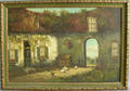 Oil on canvas courtyard scene