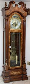 121073 CHARLES R SLIGH MAHOGANY GRANDFATHER CLOCK