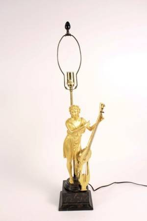 French 19th C Gilt Bronze Figural LampMusician
