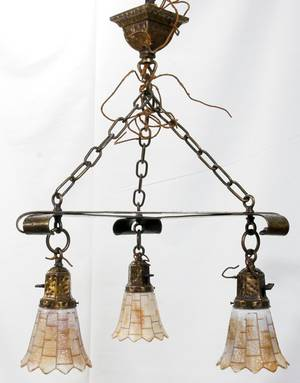 121100 ARTS  CRAFTS LEADED GLASS CHANDELIER GLOBES
