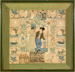Harrisburg Pennsylvania silk on linen sampler dated 1819 wrought by Sarah Dougherty at Mrs Leah Meguiers school