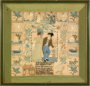 Harrisburg Pennsylvania silk on linen sampler dated 1819 wrought by Sarah Dougherty at Mrs Leah Meguiers school