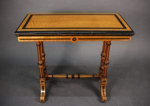 19th C Ebonized  Incised Flip Top Game Table