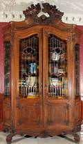 112079 CARVED WALNUT  STAINED GLASS ARMOIRE H 121