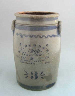 West Virginia 3gallon stoneware crock 19th c