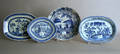 Four Chinese export blue and white serving platters