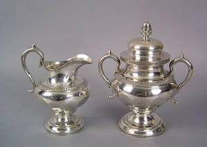 New York coin silver covered sugar and creamer mid 19th c
