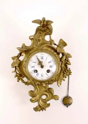 19th C French Gilt Bronze Cartel Clock