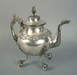 Maryland coin silver teapot ca 1825