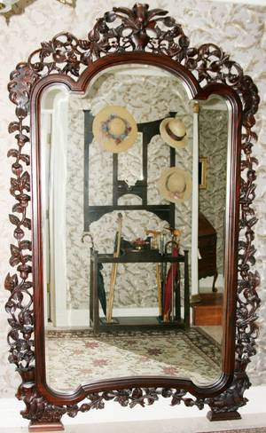 112110 ROCOCO REVIVAL CARVED ROSEWOOD MIRROR