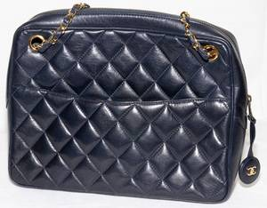 121194 CHANEL DARK BLUE QUILTED LEATHER BAG W 11