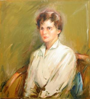 112178 RUSKIN STONE OIL YOUNG LADY IN WHITE BLOUSE