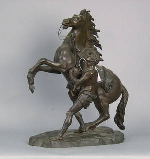 Bronze of a horse and stable hand