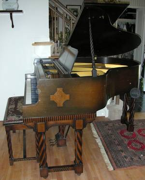 111267 WURLITZER MAHOGANY BABY GRAND PIANO WBENCH