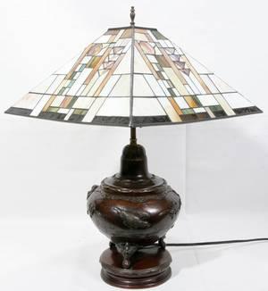 111264 JAPANESE BRONZEBASED TABLE LAMP WSHADE