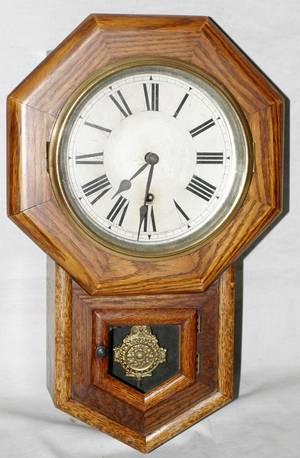 111276 SESSIONS OAK WALL CLOCK C 1900 H 19 W 12