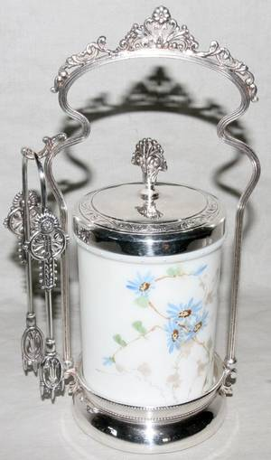121313 VICTORIAN ELECTROPLATE SILVER  GLASS CASTER