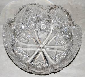 121291 CUT GLASS FRUIT BOWL C 1900 H 4 DIA 10