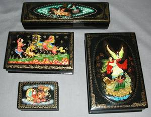 111338 RUSSIAN LACQUER BOXES 20TH C FOUR