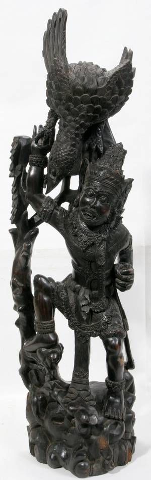 111326 BALINESE CARVED ROSEWOOD FIGURAL SCULPTURE