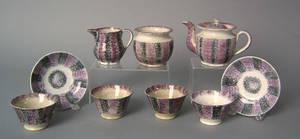 Black and purple rainbow spatter miniature tea service 19th c