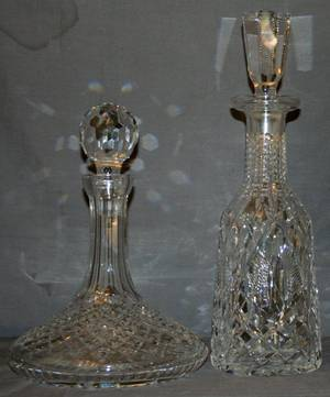 110221 CUT GLASS DECANTERS TWO H 10  13 DIA 4