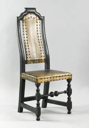 Boston Massachusetts William  Mary maple and oak dining chair early 18th c
