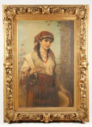 Hungarian Gypsy Girl Signed 19th C Oil Brentano