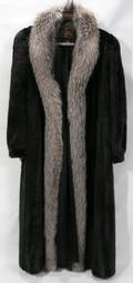 122303 FULL LENGTH MINK COAT WITH FOX COLLAR