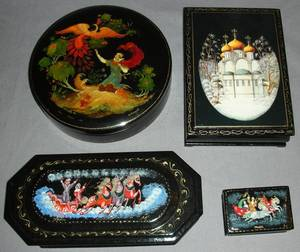 111339 RUSSIAN LACQUER BOXES 20TH C FOUR L 27