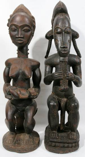 110256 PAIR OF AFRICAN BAULE CARVED WOOD SCULPTURES