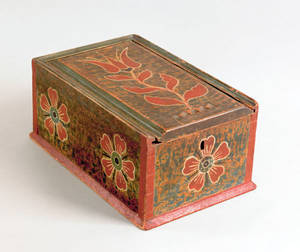 Pennsylvania painted pine slide lid box early 19th c