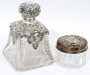 121346 STERLING  CRYSTAL PERFUME BOTTLE STERLING JAR