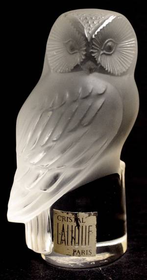 120150 LALIQUE FROSTED GLASS OWL SCULPTURE H 3