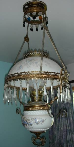 121382 VICTORIAN HANGING LAMP GLASS SHADE  FONT