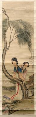 121363 ANTIQUE CHINESE SCROLL H 60 W 16 14