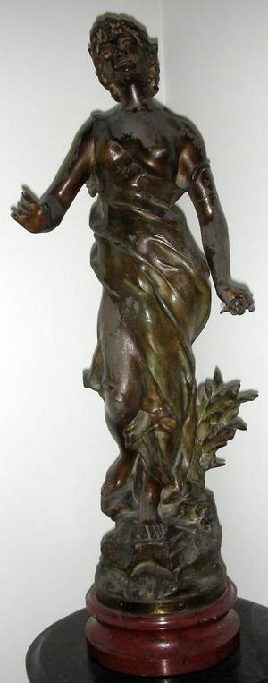 102321 FRENCH SPELTER FIGURE C 1890 H 22