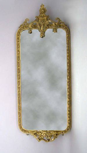Victorian gilt mirror with candlearms