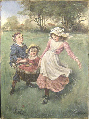 Oil on canvas of 3 children