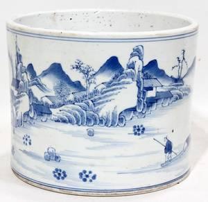 121427 CHINESE BLUE WHITE PORCELAIN CYLINDRICAL VASE