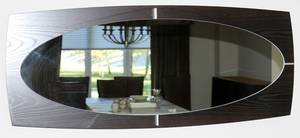 120234 CONTEMPORARY WOOD OVAL WALL MIRROR H 20 W 48