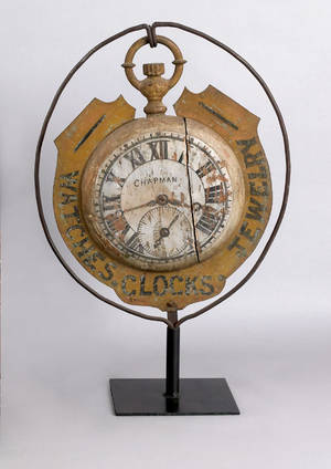 Painted wood and iron Watches Clocks Jewelry trade sign late 19th c