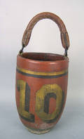 Red painted number 10 fire bucket 19th c
