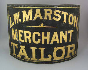Painted tin trade sign late 19th c