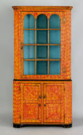 Exceptional Pennsylvania painted poplar two part corner cupboard early 19th c