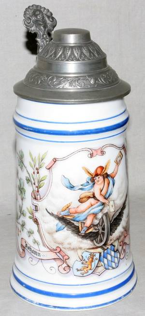 121471 GERMAN PORCELAIN STEIN LITHOPANE BASE