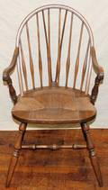 120381 SPINDLE BACK ARM CHAIR WITH RUSH SEAT H 36