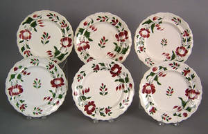 Set of 6 Adams rose plates 19th c