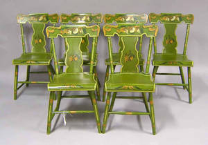 Set of 6 painted plank seat chairs