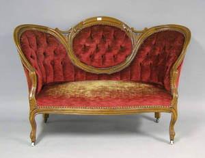 Two Victorian love seats Provenance The Estate of Anne Brossman Sweigart